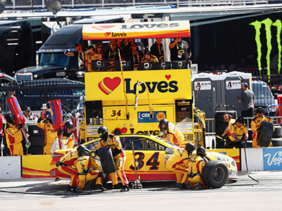landon cassill pit stop at vegas speedway